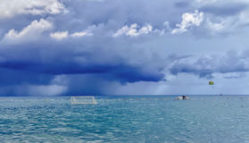 Seascape with burn clouds. And waterpolo goal Royalty Free Stock Photos