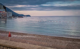 Seascape with burn clouds. And waterpolo goal Royalty Free Stock Images