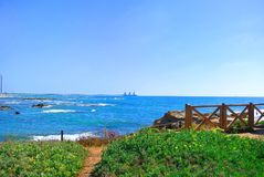 Seascape Caesarea in the excavation area. Israel Royalty Free Stock Photo