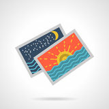 Seascape cards flat color vector icon. Flat color design vector icon for photos or cards with sunset and night seascapes on white background stock illustration