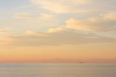 Seascape with a cargo ship - Trieste Bay, view of Italy from Slovenia Stock Photography