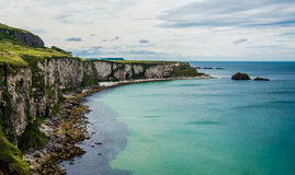 Seascape at The Carrick-a-rede. Landscape at the Carrick a rede in Northern Ireland. This is a famous point of view and touristic attraction stock images