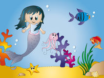 Seascape cartoon. Illustration of seascape with starfish, seaweed mermaid fish jellyfish Stock Images