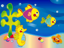 Seascape cartoon. Illustration of seascape with fish, seahorse, shells and algae Stock Photos