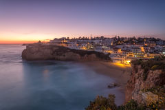 Seascape of Carvoeiro at night in the lights. Royalty Free Stock Photography