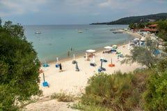 Seascape of Castello beach at Sithonia peninsula, Chalkidiki, Central Mac. CHALKIDIKI, CENTRAL MACEDONIA, GREECE - AUGUST 25, 2014: Seascape of Castello beach at Royalty Free Stock Photos
