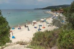 Seascape of Castello beach at Sithonia peninsula, Chalkidiki, Central Mac. CHALKIDIKI, CENTRAL MACEDONIA, GREECE - AUGUST 25, 2014: Seascape of Castello beach at Stock Photos