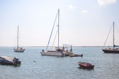 Seascape with catamaran, yachts and boats in Royalty Free Stock Photography