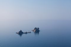 Seascape, church on the island in Petrovac Royalty Free Stock Photo