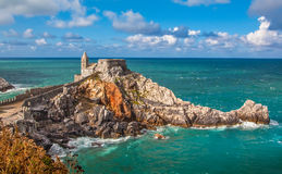 Seascape with Church of St Peter in Porto Venere, Italy Stock Photography