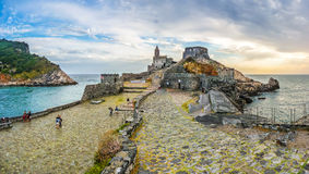 Seascape with Church of St Peter in Porto Venere, Italy Royalty Free Stock Images
