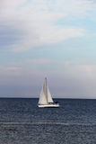 Seascape with a classic sailboat, cloudy day Stock Photography