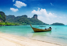 Clear water and blue sky. Beach in Krabi province, Stock Photos