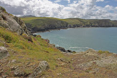 Seascape from clifftop, Pembrokeshire Royalty Free Stock Photos