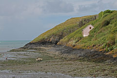 Seascape from clifftop, Pembrokeshire Royalty Free Stock Images