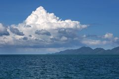 Seascape. Clouds, small hills on the horizon stock images