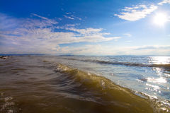 Seascape coast at horizon sunshine Stock Image