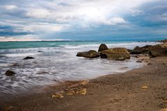 Seascape, coast and waves Royalty Free Stock Images