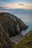 Seascape Coastal Sunset. Seascape sunset along the rocky coastline of north western Bretagne region of France, Europe stock images