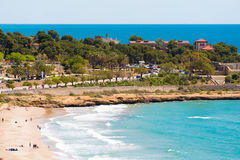 Seascape. The coastline of the Costa Dorada, Tarragona, Catalunya, Spain. Copy space for text. Royalty Free Stock Photos