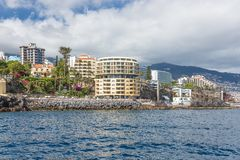 Seascape coastline Madeira with several modern Hotels of Funchal Royalty Free Stock Photo