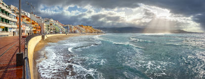 Seascape of coastline in storm weather. Las Palmas, Gran Canaria Royalty Free Stock Images