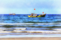 Seascape colorful painting. With fishing boats royalty free stock images