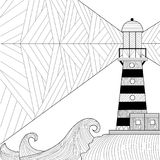 Seascape coloring book for adult, anti stress coloring raster stock illustration