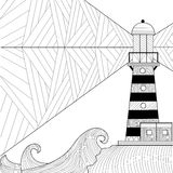 Seascape coloring book for adult, anti stress coloring vector Stock Images