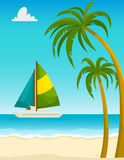 Seascape com as palmas da praia da areia e o iate, ilustração do vetor dos desenhos animados Foto de Stock Royalty Free