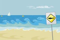 Seascape com aviso ilustração royalty free