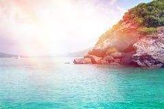 Seascape com farol Imagem de Stock