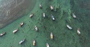 Seascape com os barcos de pesca na costa video estoque