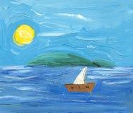 Seascape com sailboat Imagem de Stock Royalty Free