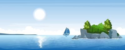 Seascape com uma ilha pequena Foto de Stock Royalty Free