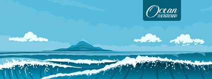 Seascape com uma ilha pequena ilustração royalty free