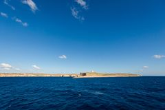 Seascape on Comino island Malta. Beautiful seascape on Comino island taken from ferry to Gozo. Landscape of Malta Royalty Free Stock Photo