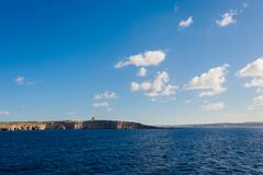 Seascape on Comino island Malta. Beautiful seascape on Comino island taken from ferry to Gozo. Landscape of Malta Stock Image