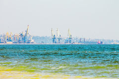 Seascape and commercial port background , turquoise water, sunny Royalty Free Stock Photography