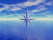 Seascape and compass Royalty Free Stock Photography