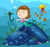 Seascape cute mermaid underwater stock illustration