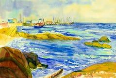 Seascape da aquarela que pinta colorido do barco de pesca, aterrando ilustração royalty free
