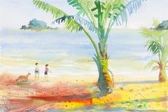 Seascape da aquarela que pinta colorido dos meninos e das meninas na praia ilustração royalty free