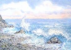Seascape da aquarela surf fotos de stock
