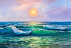 Seascape da pintura Onda do mar ilustração do vetor
