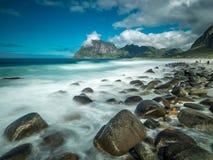 Seascape da praia de Eggum Fotos de Stock Royalty Free