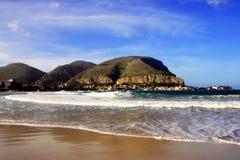 Seascape da praia de Mondello, Italy Fotografia de Stock