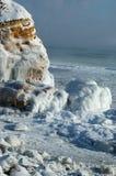 Seascape da tempestade do inverno - mar congelado imagem de stock