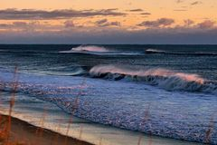 Seascape de Magnificant das praias de North Carolina Fotos de Stock