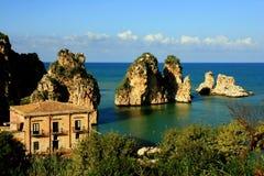 Seascape de Sicília, almodrava Scopello Imagens de Stock